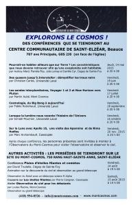 CONFÉRENCES AU CENTRE COMMUNAUTAIRE DE ST-ELZÉAR